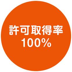 許可取得率 100%